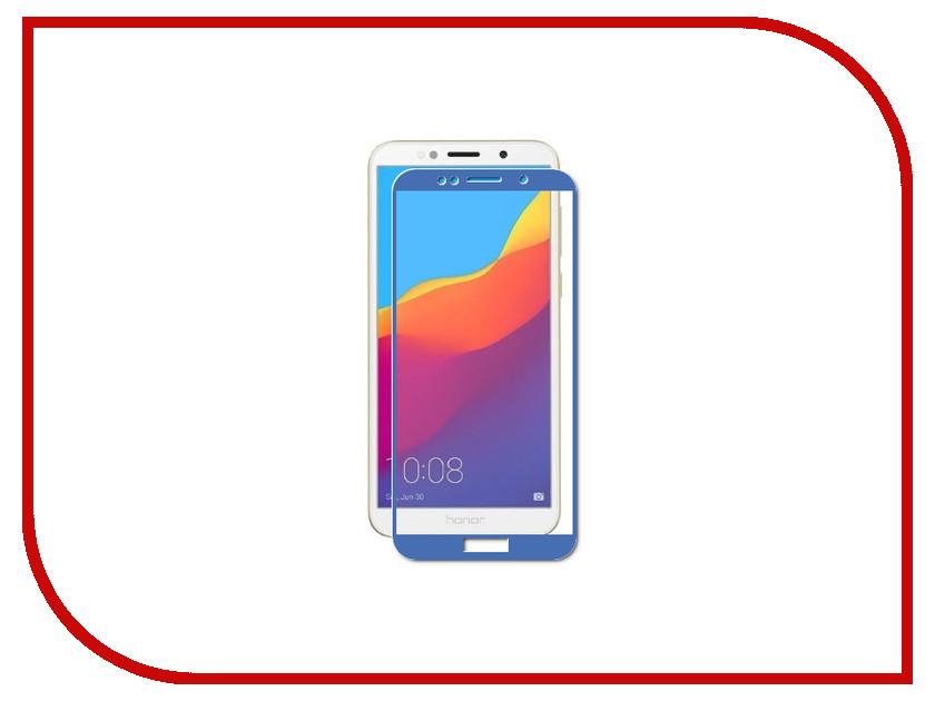 Аксессуар Стекло противоударное для Huawei Y5 Prime 2018/Honor 7A Gurdini 2.5D Full Screen Blue 907955