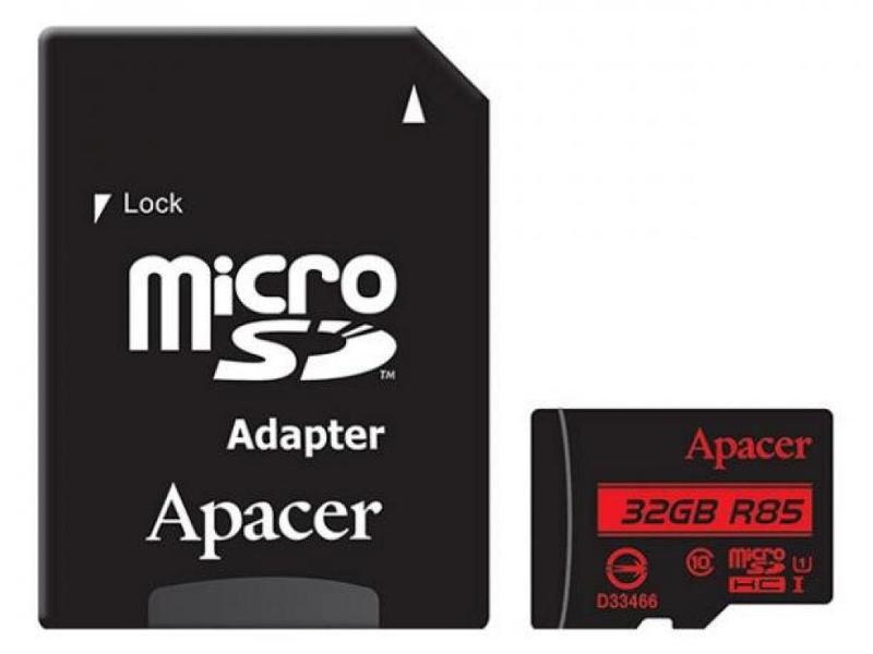 Карта памяти 32Gb - Apacer Micro Secure Digital HC Class 10 UHS-I AP32GMCSH10U5-R с переходником под SD