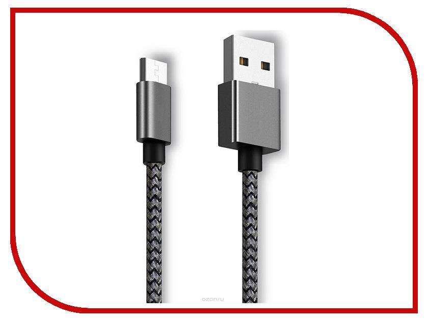 Аксессуар Ginzzu USB - microUSB 25cm Black GC-151B ginzzu gc 885b black комплект переходников type c microusb usb 3 0