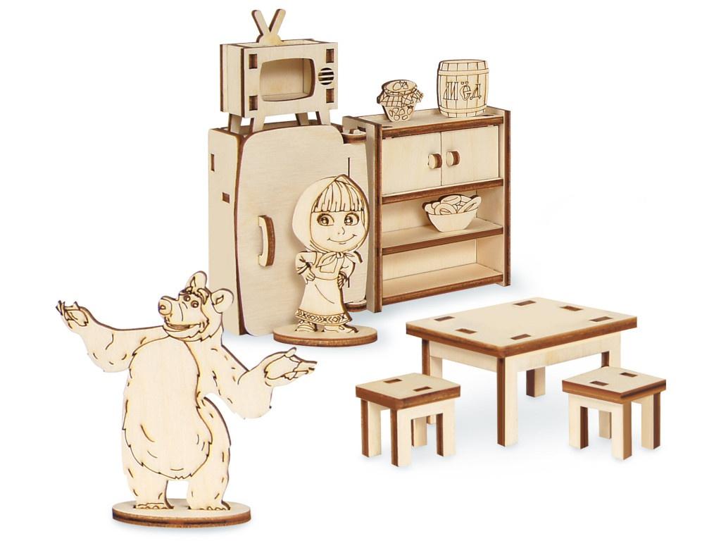 Сборная модель IQ Format Маша и Медведь Мебель Миши 4627130659968 домик миши simba с фигуркой миши и аксессуарами