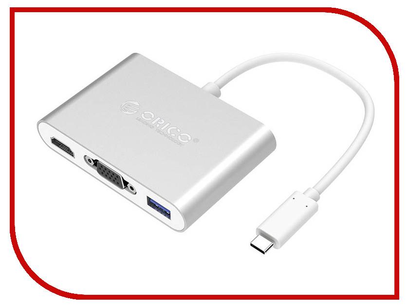 Аксессуар Адаптер Orico USB Type-C - VGA / HDMI / USB 3.0-A / Type-C Silver RCHV-SV