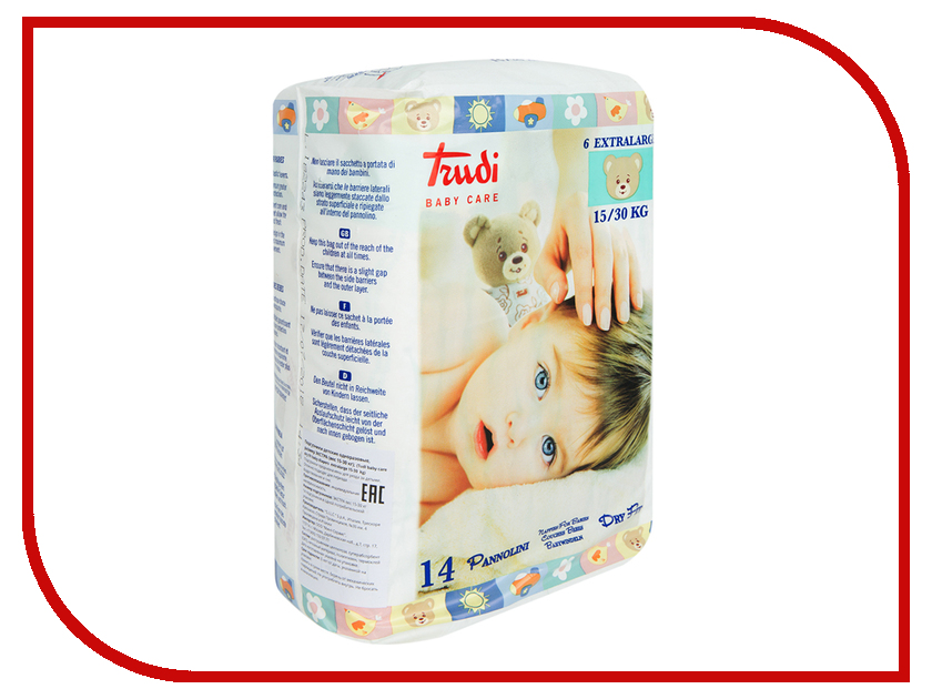 Подгузники Trudi №6 Extralag 15-30кг 14шт 00696 мягкие игрушки trudi лайка маркус 34 см