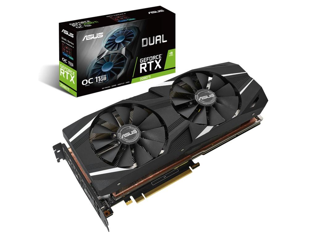 купить Видеокарта ASUS GeForce RTX 2080 Ti 1480Mhz PCI-E 3.0 11264Mb 14000Mhz 352 bit 3xDP USB-C HDMI DUAL-RTX2080TI-O11G по цене 85367 рублей