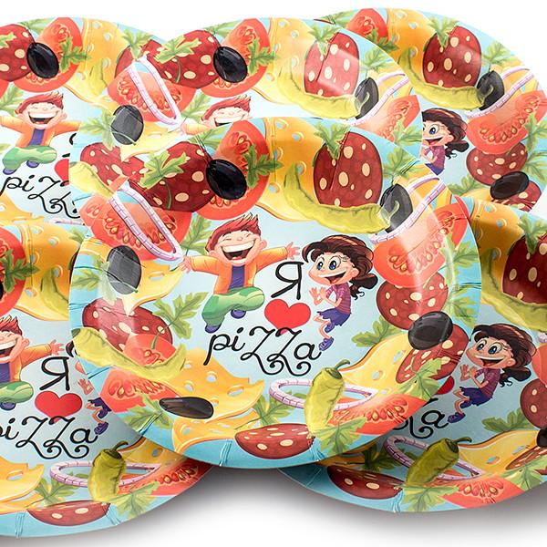 Одноразовые тарелки Эврика N 6 Я люблю пиццу 190mm 6шт 96940
