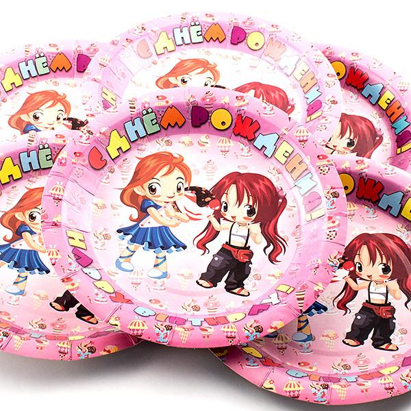 Одноразовые тарелки Эврика N 5 С днем рождения 190mm 6шт 96939