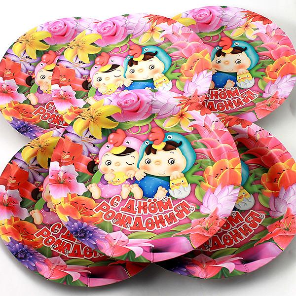 Одноразовые тарелки Эврика N 35 Малыши с птенцами 190mm 6шт 96980