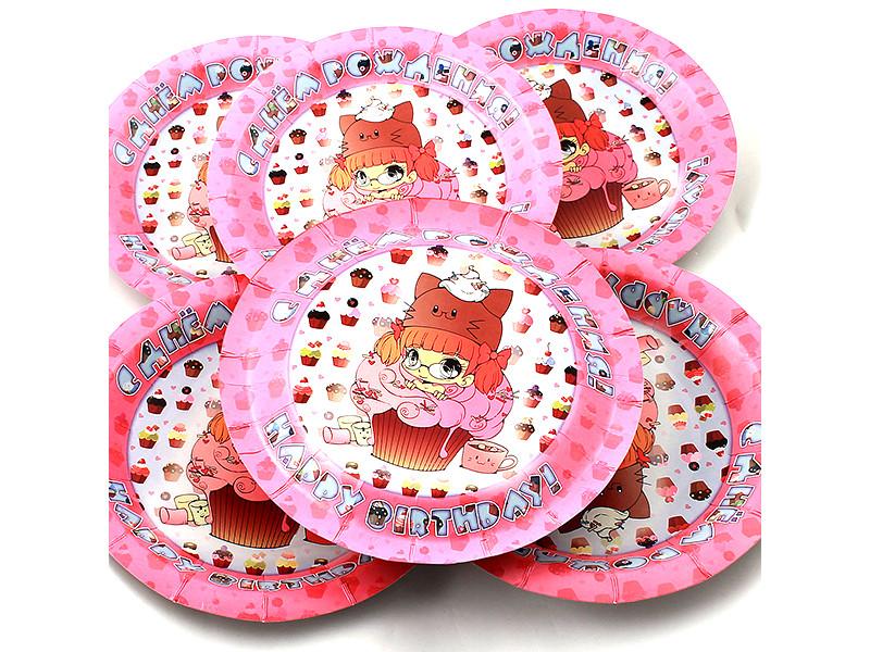 Одноразовые тарелки Эврика N 31 Девочка в пироженом 190mm 6шт 96976