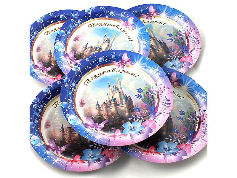Одноразовые тарелки Эврика N 30 Поздравляем 190mm 6шт 96975