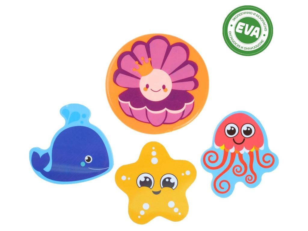 Набор игрушек для ванны Крошка Я Морские жители + коврик на присосках 2724086