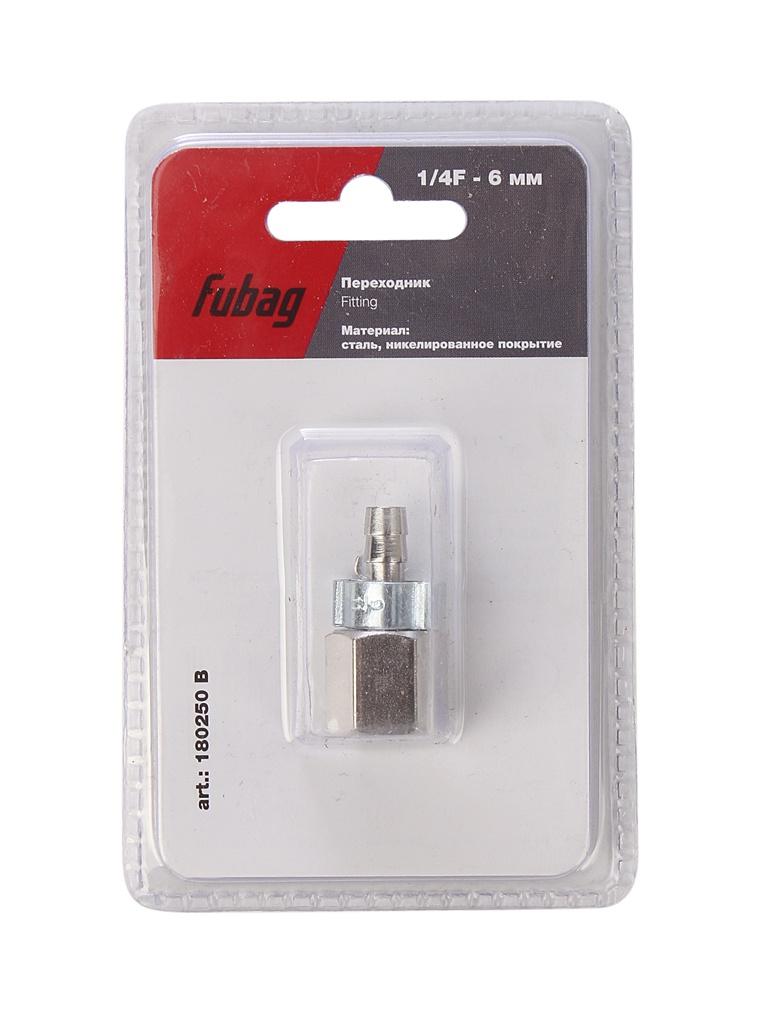 Переходник Fubag 1/4F на елочку 6mm с обжимным кольцом 6x11mm блистер 1шт 180250 B