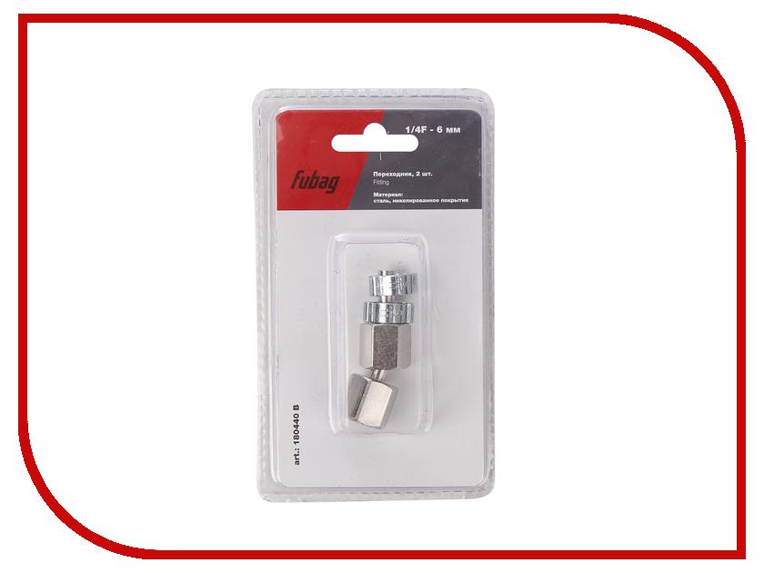 Переходник Fubag 1/4F на елочку 6mm с обжимным кольцом 6x11mm блистер 2шт 180440 В