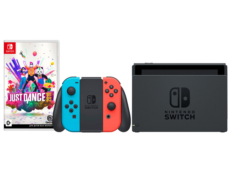Игровая приставка Nintendo Switch Neon Red/ Blue + Just Dance 2019