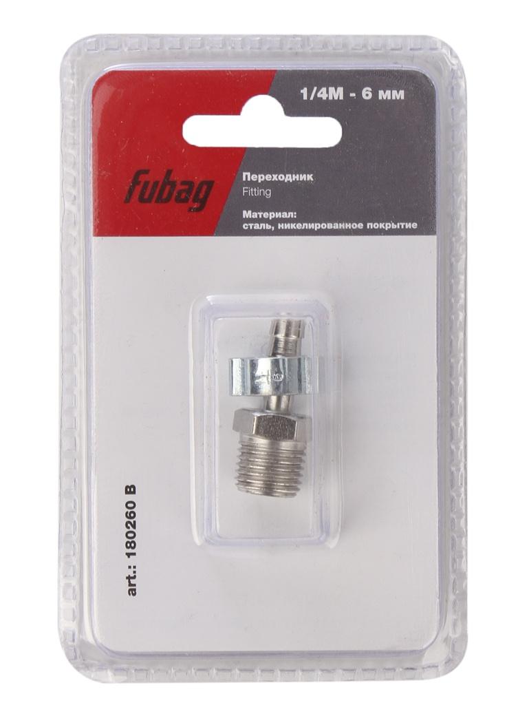 Переходник Fubag 1/4M на елочку 6mm с обжимным кольцом 6x11mm блистер 1шт 180260 B