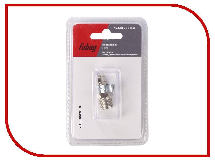 Переходник Fubag 1/4M на елочку 8mm с обжимным кольцом 8x13mm блистер 1шт 180261 B