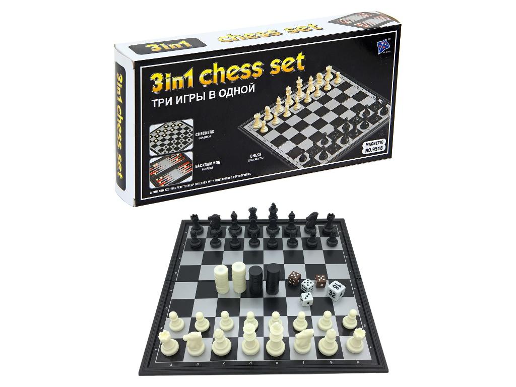 Игра Kromatech Магнитный набор 3 в 1 Шахматы, шашки, нарды 7710m022