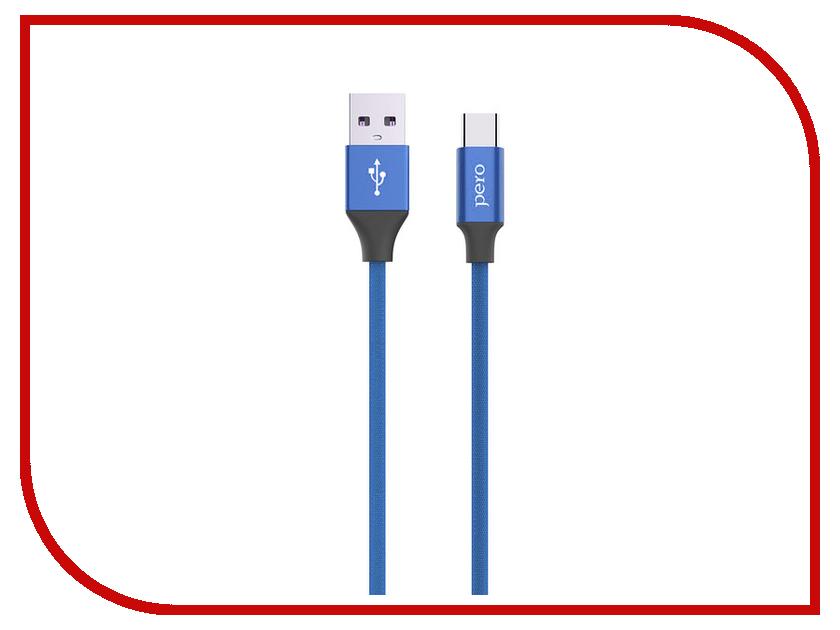 Аксессуар Pero DC-02 USB - Type-C 2.4А 1m PRDC-02TC1MBL Blue аксессуар df usb type c 1m czebra 02 blue black page 10
