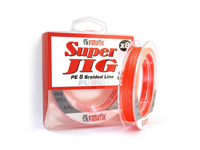 Леска Fanatik Super Jig PE X8 (#0,6) 0.12mm 120m Orange SJPEX812006O