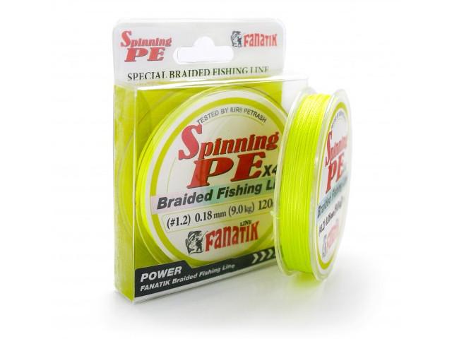 Леска Fanatik Spinning PE X4 (#1,2) 0.18mm 120m Yellow SPEX412012Y