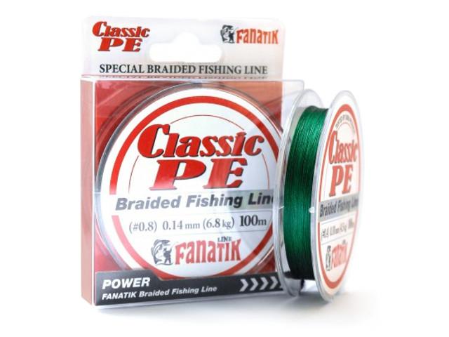 Леска Fanatik Classic PE X4 (#0,8) 0.14mm 100m Green CPEX410008G