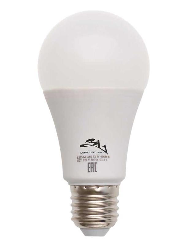 Лампочка 3L Long Life Lamp LED A60 E27 12W 220-240V 4000K 650-720Lm Cold Light цена