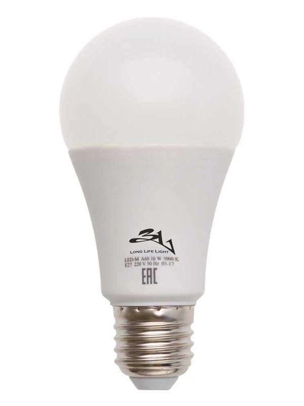 Лампочка 3L Long Life Lamp LED A60 E27 10W 220-240V 3000K 580-640Lm Warm Light mobula со 3l