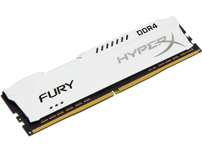 Модуль памяти Kingston HyperX Fury White DDR4 DIMM 2400MHz PC4-19200 CL15 - 8Gb HX424C15FW2/8 модуль памяти dimm 32gb 2х16gb ddr4 pc17000 2133mhz kingston hyperx fury white hx421c14fwk2 32