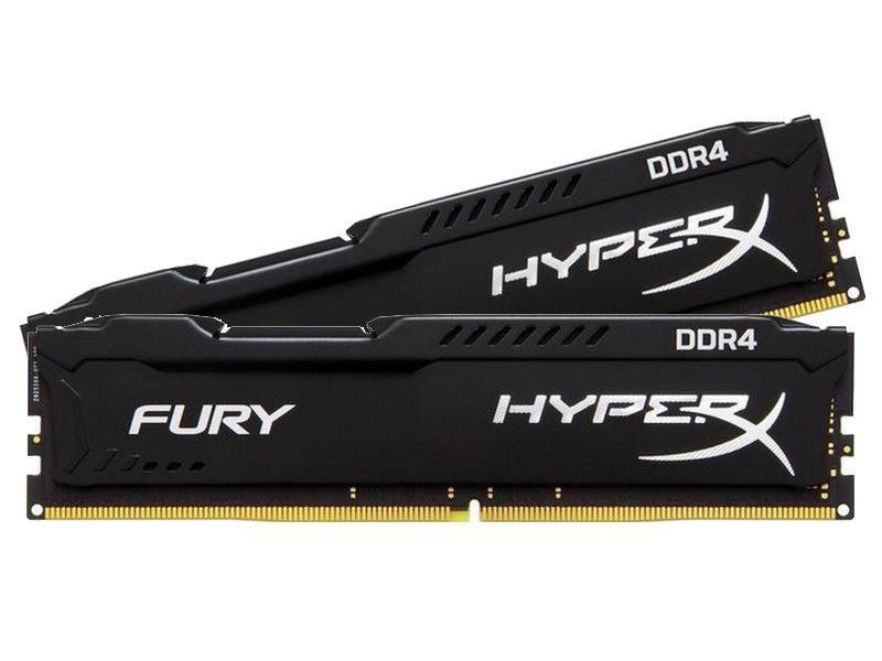 Модуль памяти Kingston HyperX Fury Black DDR4 DIMM 2933MHz PC4-23400 CL17 - 32Gb KIT (2x16Gb) HX429C17FBK2/32 модуль памяти ddr4 kingston 16gb kit 8gbx2 2933mhz hyperx fury red series cl17 [hx429c17fr2k2 16]
