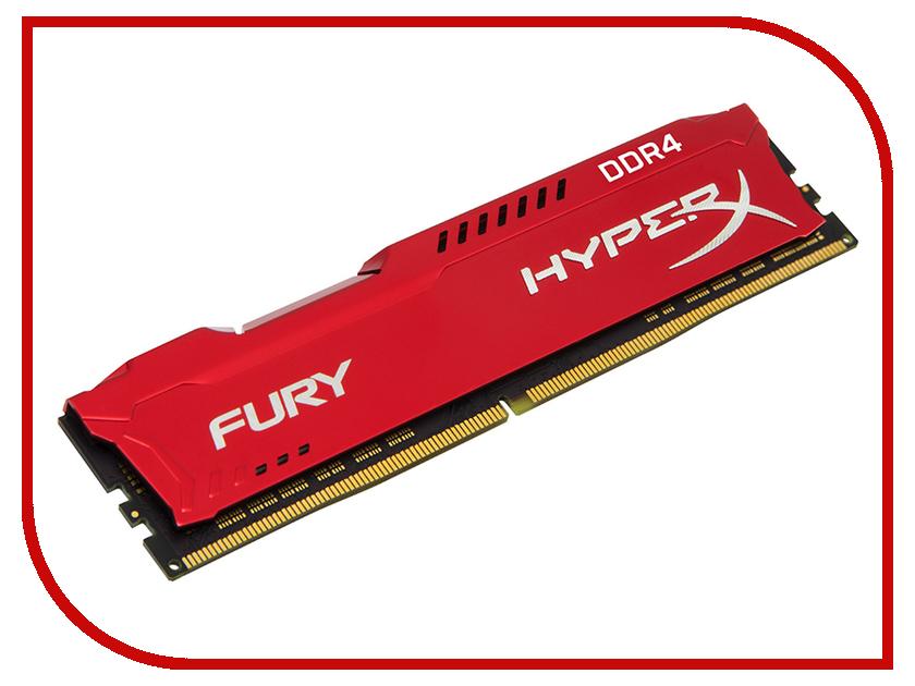 Модуль памяти Kingston HyperX Fury Red DDR4 DIMM 3466MHz PC4-27700 CL19 - 16Gb HX434C19FR/16 модуль памяти kingston hyperx fury white ddr4 dimm 3466mhz pc 27700 cl19 16gb hx434c19fw 16