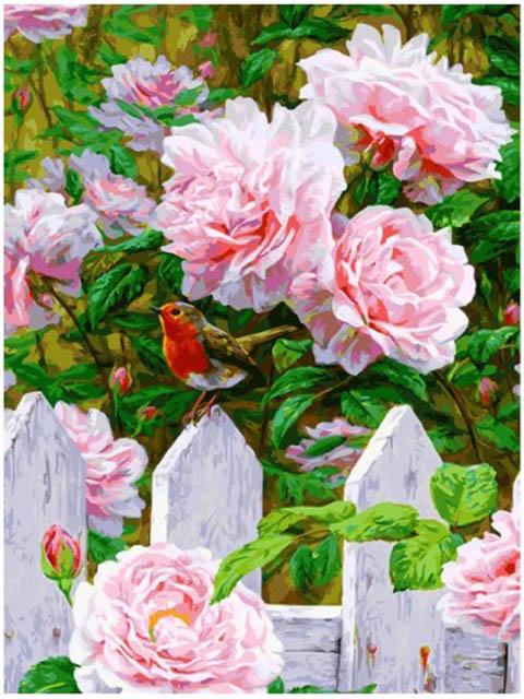 Картина по номерам Белоснежка Птичка на заборе 313-AS