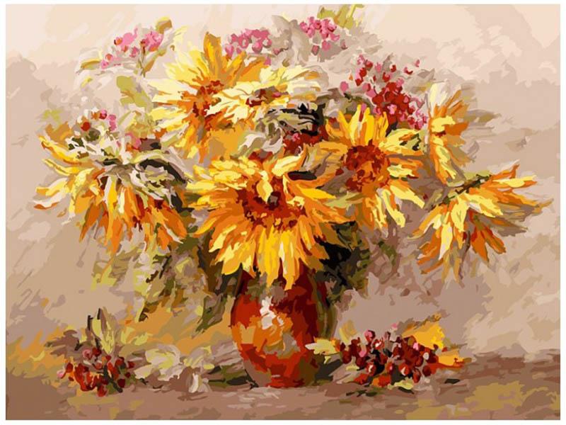 Картина по номерам Белоснежка Подсолнухи и калина 258-AS картина по номерам белоснежка птичка на заборе 313 as