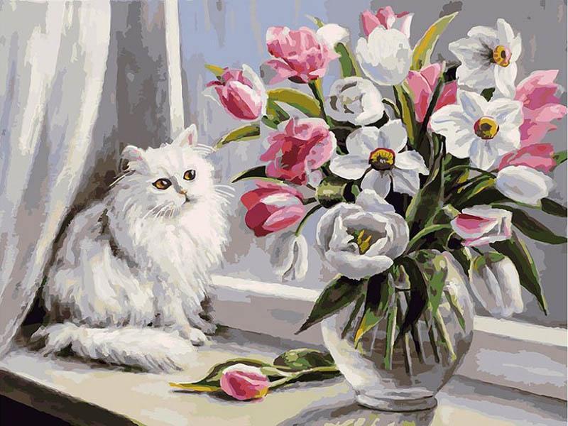 Картина по номерам Белоснежка Весна на окошке 128-AS