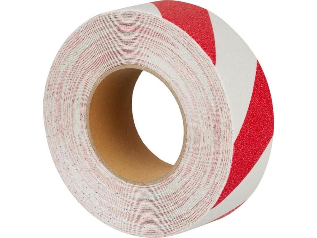 Лента противоскользящая Мельхозе 50mm х 18.3m Red-White 285811 / M1YR050183