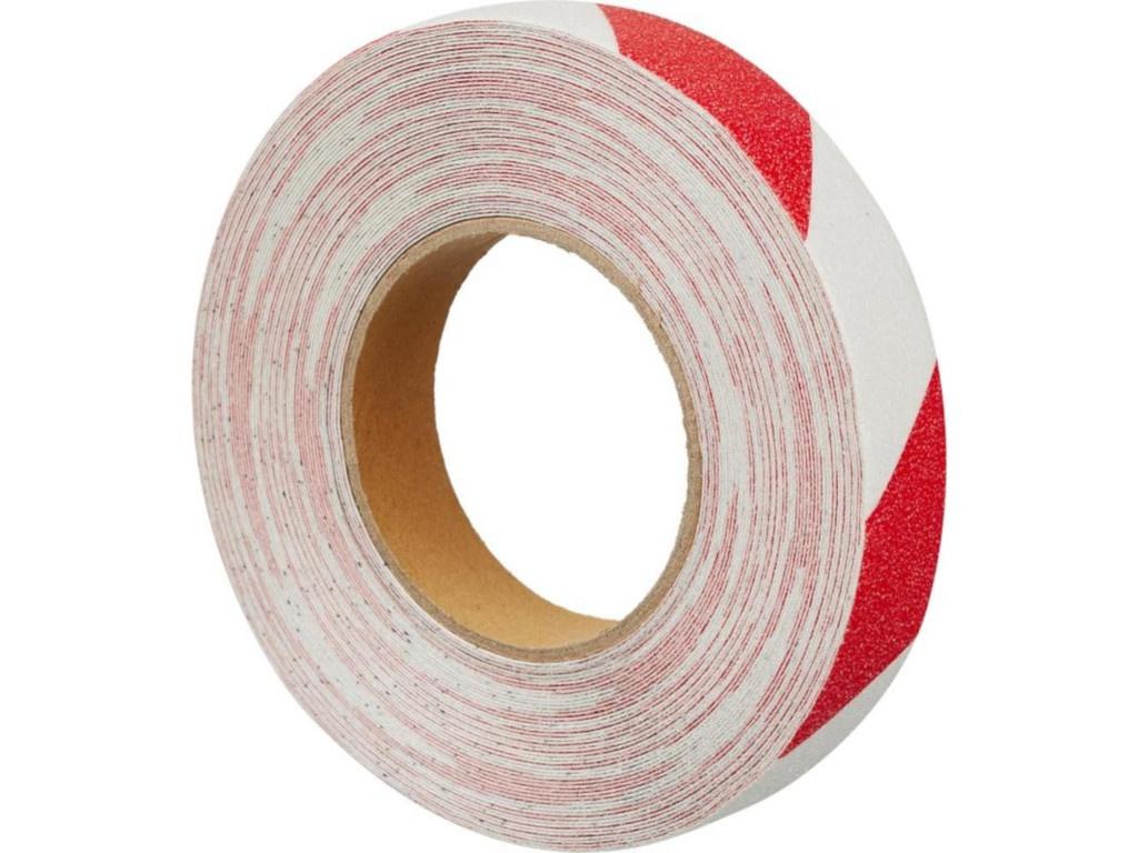 Лента противоскользящая Мельхозе 25mm х 18.3m Red-White 285810 / M1YR025183