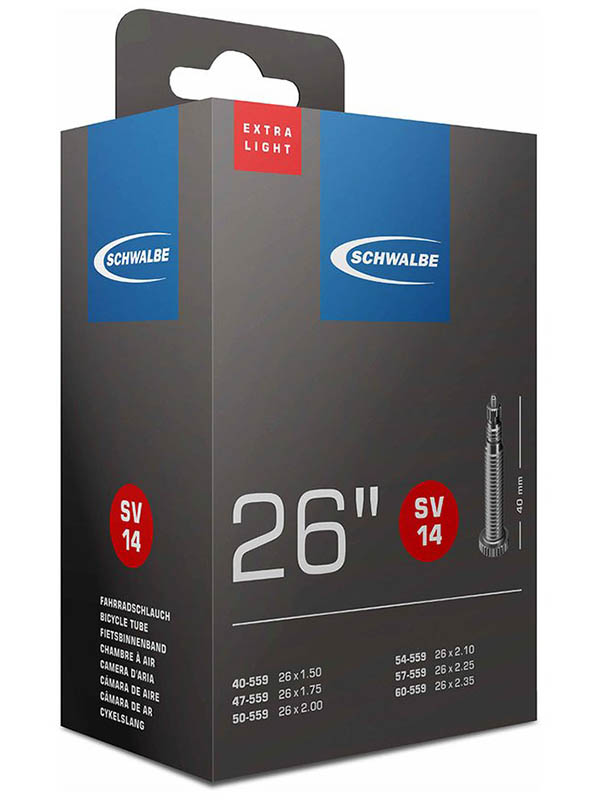 Велокамера Schwalbe SV14 Extra Light40/60-559.26х1,5-2.35 10424343 цена