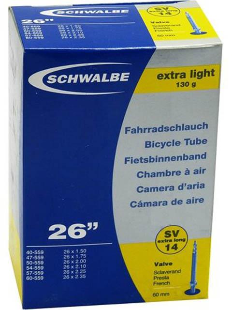 Велокамера Schwalbe SV14 Extra Light40/60-559.26х1.5-2.35 10424363 запчасть schwalbe ice spiker pro evo 65 584 27 5x2 6