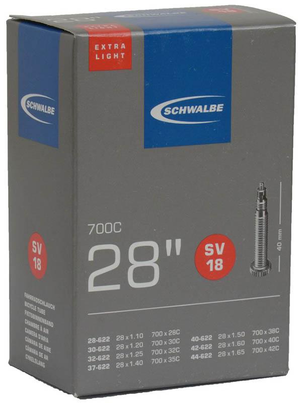 Велокамера Schwalbe SV18 Extra Light 28/44-622,28-1.1-1.7 10428343
