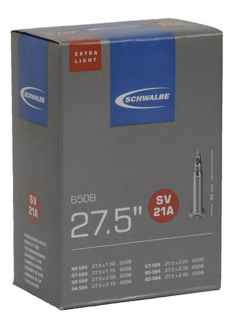 Велокамера Schwalbe SV21A Extra Light 40/62-584.27.5-1.6-22.4 10400163 запчасть schwalbe ice spiker pro evo 65 584 27 5x2 6