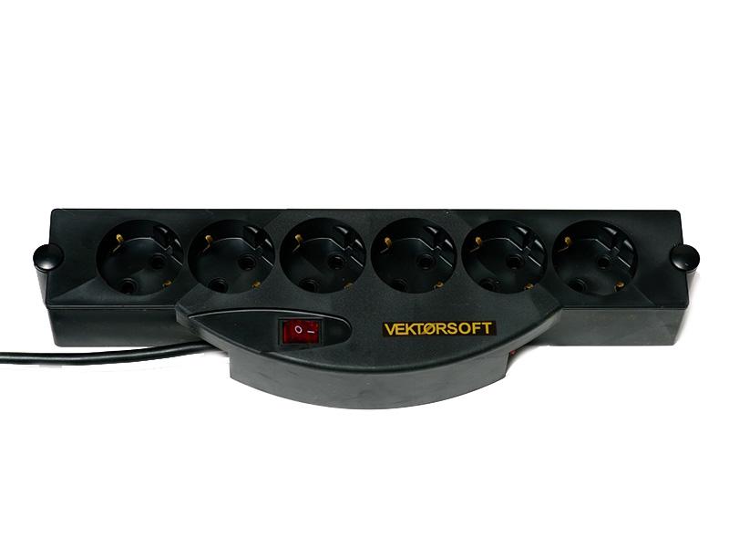 Сетевой фильтр Vektor Soft 6 Sockets Black 5m 15787 сетевой фильтр daesung mc2345 4 sockets 5m