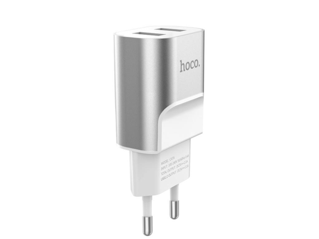 Зарядное устройство Hoco C47A Metal 2xUSB 2.1A Silver зарядное