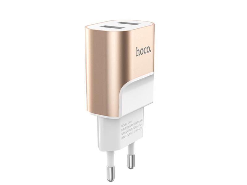 Зарядное устройство Hoco C47A Metal 2xUSB 2.1A Gold