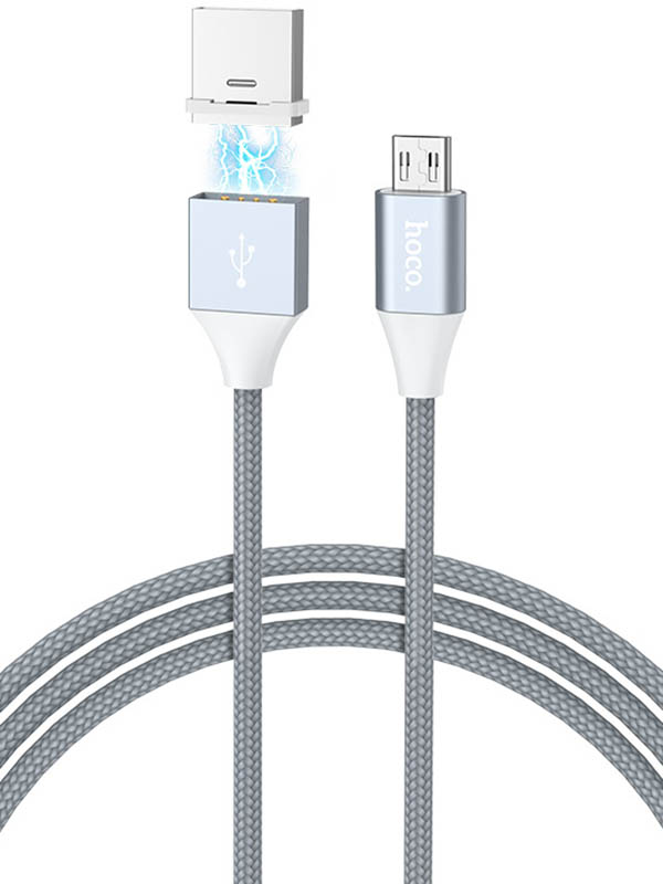 Аксессуар Hoco U40Bm USB - MicroUSB Magnetic Adsorption Grey