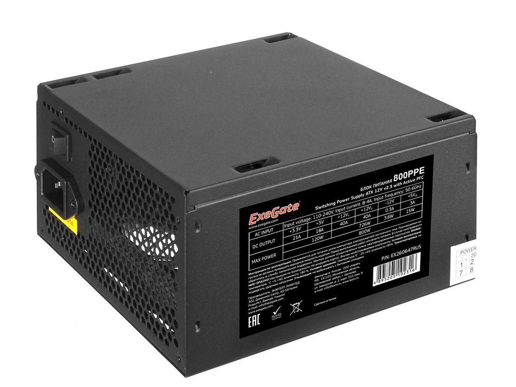 Блок питания Exegate ATX-800PPE 800W Black EX260647RUS-S / 278189