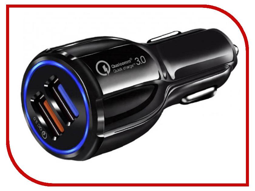 Зарядное устройство Orient CAR QC-12V2B 2xUSB Quick Charge 3.0 Black 30771