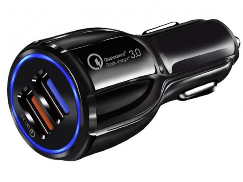 Зарядное устройство Orient CAR QC-12V2B 2xUSB Quick Charge 3.0 Black 30771 зарядное