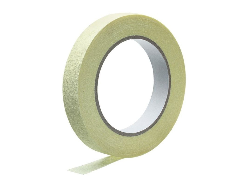 Клейкая лента для изогнутых поверхностей Unibob Малярная 19mm х 25m Yellow 371120 малярная лента для изогнутых поверхностей folsen 38ммх25м 0293825