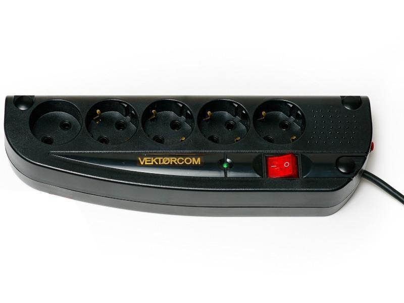 Сетевой фильтр Vektor Com 5 Sockets Black 5m 15781 сетевой фильтр daesung mc2345 4 sockets 5m