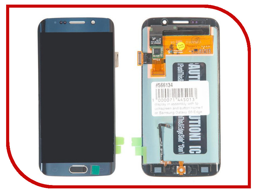 Дисплей RocknParts для Samsung Galaxy S6 Edge SM-G925F с кнопкой Home Blue 566134