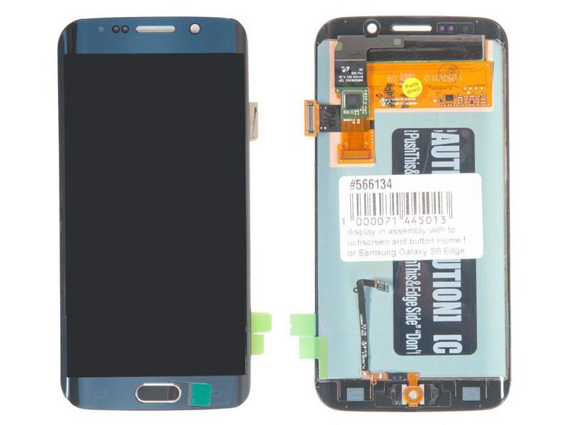 Дисплей RocknParts для Samsung Galaxy S6 Edge SM-G925F с кнопкой Home Blue 566134 защитное стекло для samsung g925f galaxy s6 edge onext изогнутое по форме дисплея с прозрачной рамкой