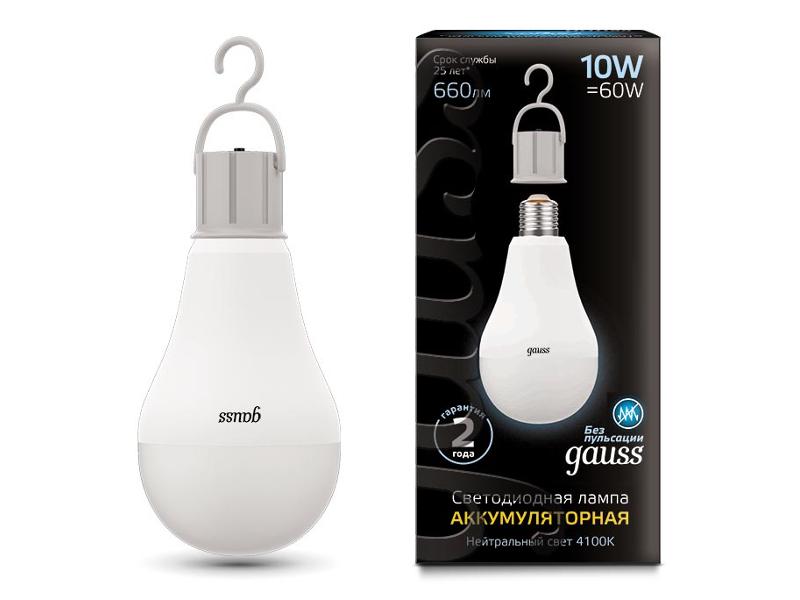 Лампочка Gauss E27 A60 10W 4100K 102402200