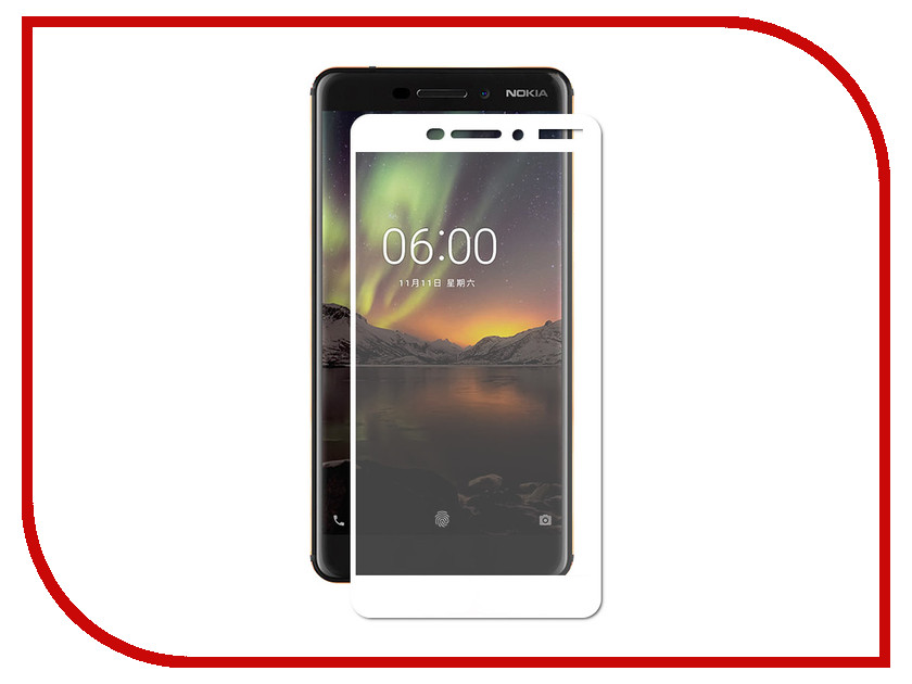 Аксессуар Защитное стекло для Nokia 7 Plus Optmobilion 2.5D White аксессуар чехол для nokia 7 plus gecko transparent white s g nok7plus wh